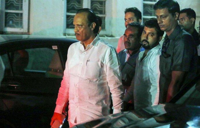 Maharashtra Deputy Chief Minister Ajit Pawar outside his residence in Churchgate in Mumbai on Sunday. PTI159B)