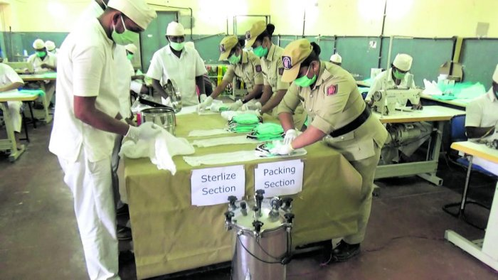 Prisoners and prison staff busy making masks at the Central Prison in Parappana Agrahara, Bengaluru.