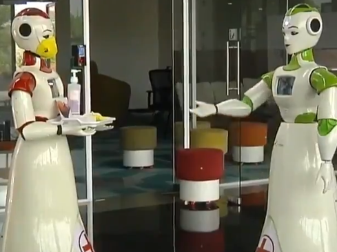 Two robots in Kerala help contain coronavirus (Video screengrab)