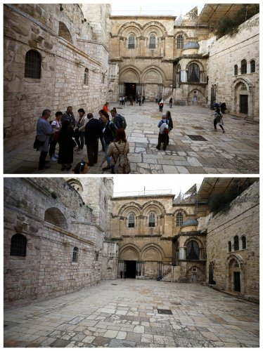 A combination picture shows visitors gathering in an area near the entrance of the Church of the Holy Sepulchre in Jerusalem's Old City. (Credit: Reuters)