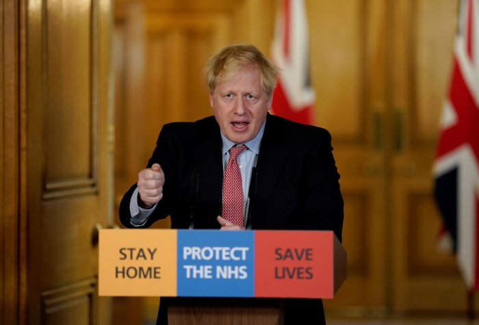 Britain's Prime Minister Boris Johnson speaks during his first remote news conference on the COVID-19 outbreak. Reuters