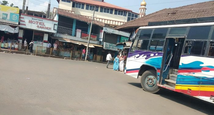 Private bus stand wears a deserted look in Virajpet.