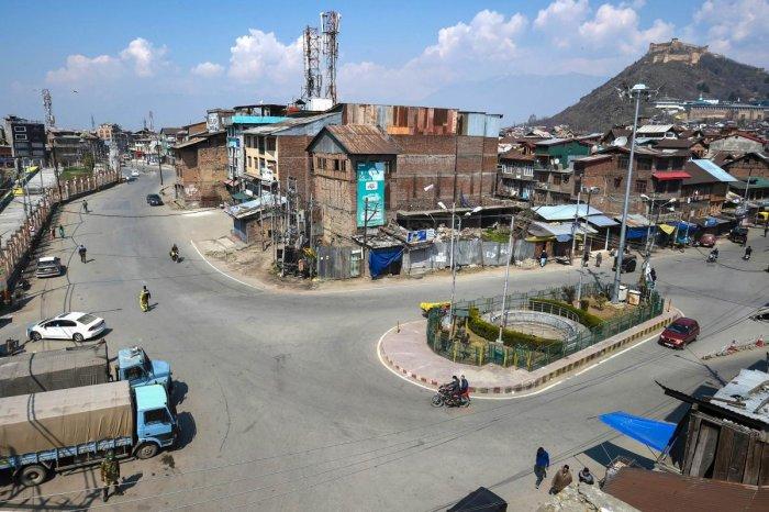Deserted view of Khanyar neighbourhood during restrictions in Srinagar. PTI