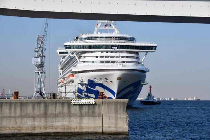 The Diamond Princess cruise ship is seen at a pier in the port of Yokohama. (AFP Photo)