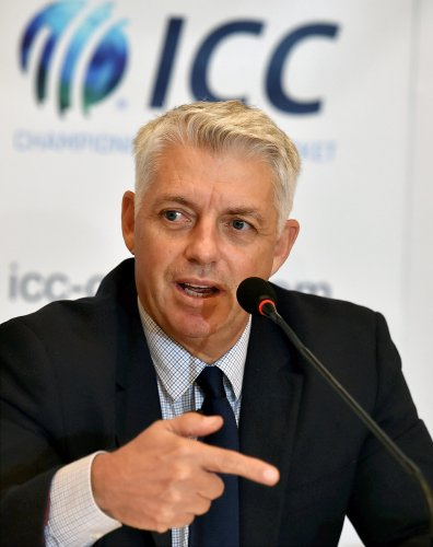ICC Chief Executive David Richardson speaks during a media interaction after ICC Board meeting in Kolkata. (PTI Photo)