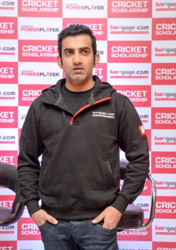 Former India opener Gautham Gambhir at the launch of Funngage.com Cricket Scholarship programme in Bengaluru on Tuesday. DH Photo/ Satish Badiger