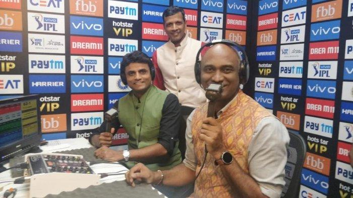 Sujith Somasundar, Vijay Bharadwaj and (standing) Srinivas Murthy during an IPL match recently.