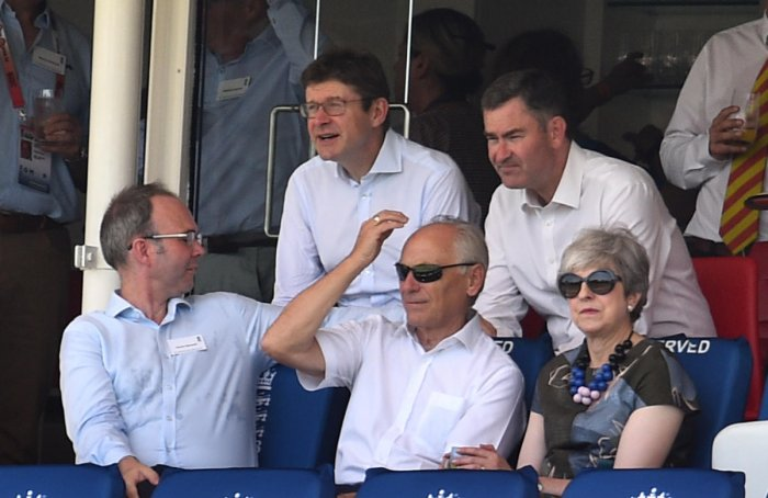 May, who remains a Conservative MP, was spotted at Lord's cricket ground watching England take on Ireland -- just as Boris Johnson was making his maiden address in parliament as the new prime minister. (Reuters File Photo)