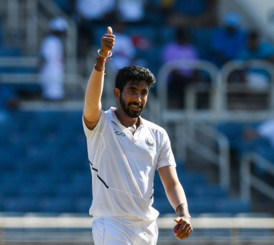 Jasprit Bumrah of India celebrates taking 5 wickets during day 2 of the 2nd Test between West Indies and India at Sabina Park, Kingston, Jamaica, on August 31, 2019. (Photo AFP)