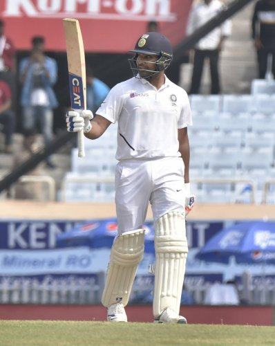 India's Rohit Sharma during 2nd day of the 3rd cricket test match against South Africa at JSCA Stadium in Ranchi, Sunday, Oct. 20, 2019. (PTI Photo)