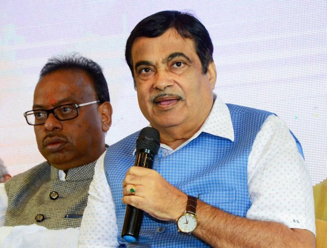 Union Minister for Road Transport and MSME Nitin Gadkari interacts with the media during a press conference of Khasdar Sanskrutik Mahotasav.