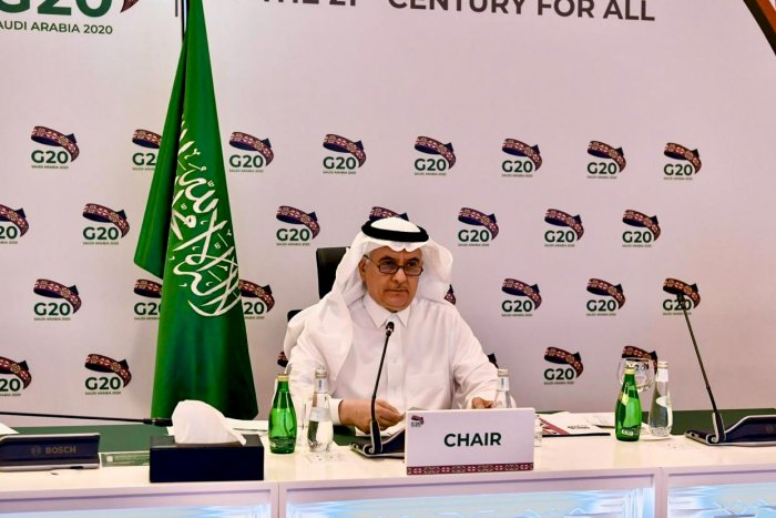 Saudi Minister of Environment, Water and Agriculture Abdulrahman Al-Fadley chairing a videoconference meeting of the G20 Agriculture ministers. (AFP Photo)