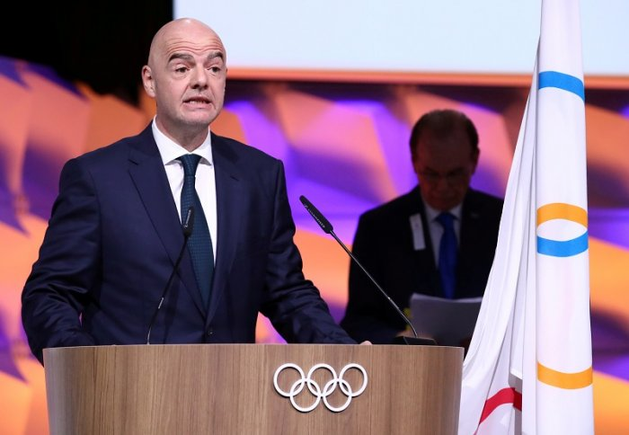 FIFA president Gianni Infantino gives oath after his election as International Olympic Committee (IOC) member during the 135th Session in Lausanne, Switzerland. (Reuters Photo)