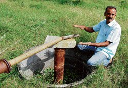 Farmer supplies water to dry borewell