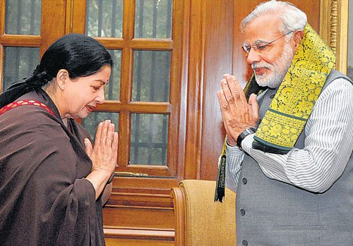 Jaya meets Modi, mum on support