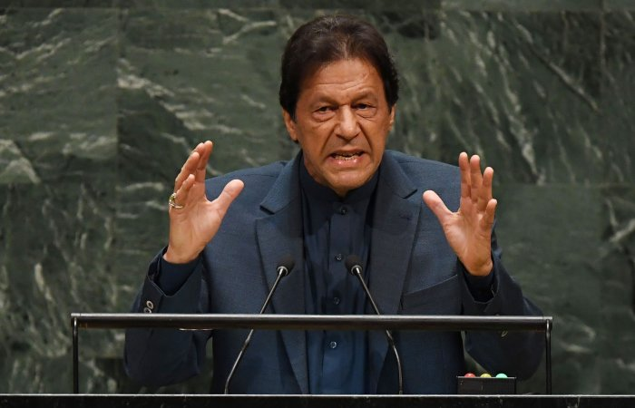 Pakistani Prime Minister Imran Khan speaks during the 74th Session of the General Assembly at UN Headquarters in New York. (AFP Photo)
