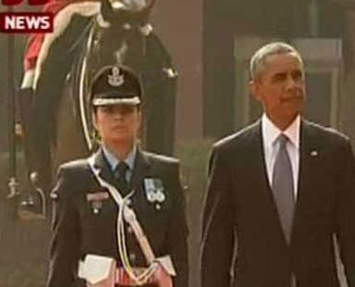 Woman officer leads guard of honour for Obama at Rashtrapati Bhavan