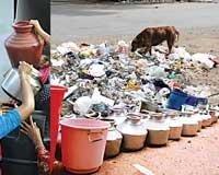 Garbage everywhere, no water