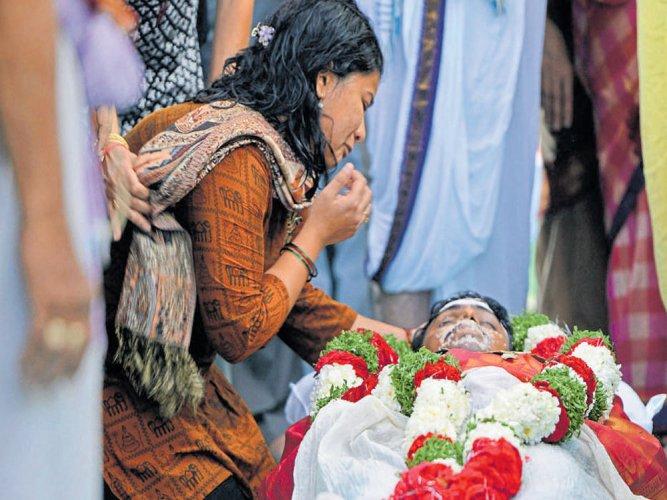 Tearful farewell to Srinivas
