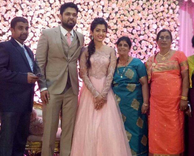 Rakshit, Rashmika get engaged in Virajpet