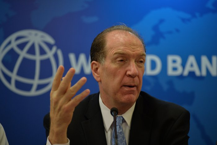 World Bank President David Malpass gestures as he speaks during a press conference at the World Bank office in New Delhi. (AFP Photo)