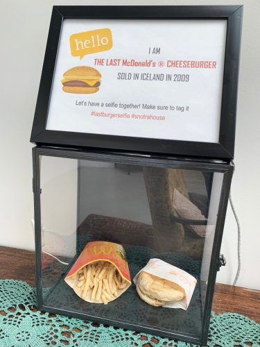 A burger with a side of fries protected in a glass case, belonging to Iceland's Hjortur Smarason, is on display in the Snotra House, a hostel in Thykkvibaer, southern Iceland. (AFP Photo)
