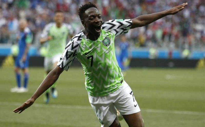Nigeria's Ahmed Musa celebrates after scoring his team's second goal during the group D match between Nigeria and Iceland at the 2018 soccer World Cup in the Volgograd Arena in Volgograd, Russia. AP/PTI Photo