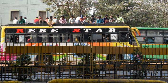 All types of transport including BMTC and KSRTC buses and Metro has been banned. (Credit: DH Photo)