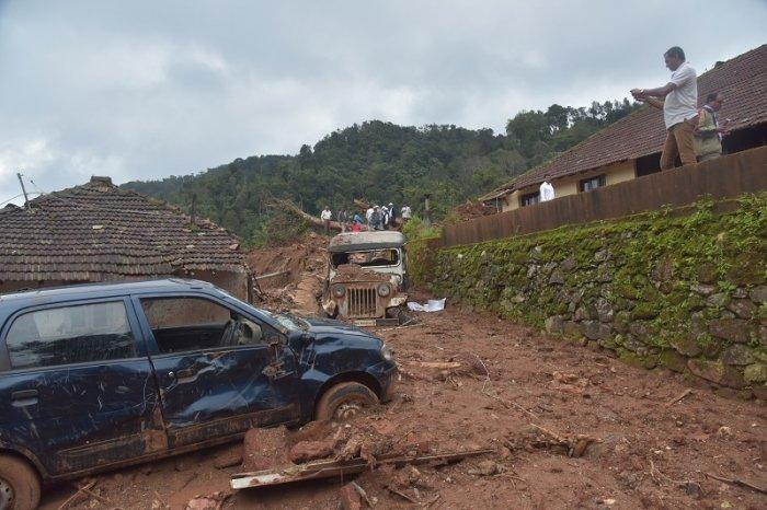 A scene of landsliding, at Malemane, near Kottigehara, Mudigere Taluk. (DH Photo)