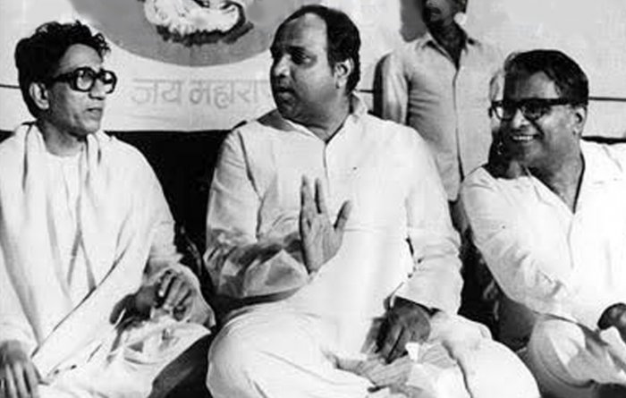An old photo of late Shiv Sena supremo Bal Thackeray, late socialist leader and trade unionist George Fernandes and NCP president Sharad Pawar. (File photo)