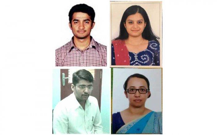 Top: Rahul Sharanappa Sankanur (17th rank) and Lakshmi N (45). Bottom: Akash S (78) and Kruthika (100)