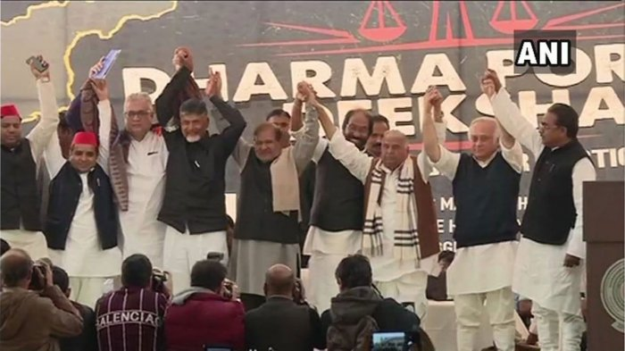 Andhra Pradesh and Telugu Desam Party chief CM N Chandrababu Naidu & other leaders at 'Dharma Porata Deeksha' - his daylong hunger strike against central govt over the issue of special status to Andhra Pradesh. ANI photo