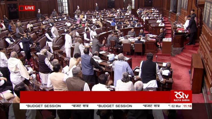 The whole Opposition was on their feet demanding a discussion on Delhi riots. (Photo: Screengrab/RSTV)