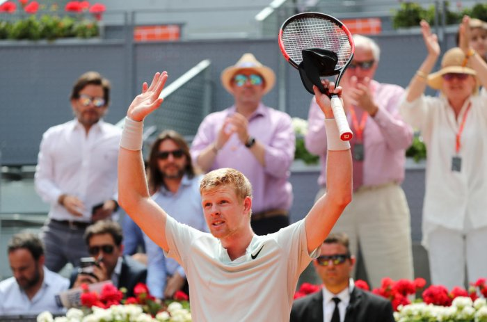 BIG WIN: Britain's Kyle Edmund celebrates after defeating Serbia's Novak Djokovic in the Madrid Open on Wednesday. Reuters