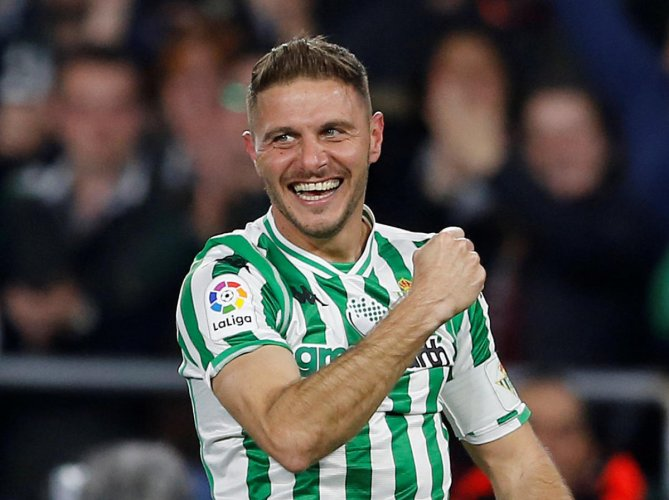 WONDER GOAL: Real Betis' captain Joaquin celebrates after scoring a goal from a corner against Valencia. REUTERS