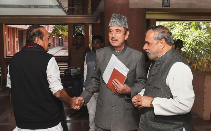 Senior Congress leader Ghulam Nabi Azad and Anand Sharma and MDMK leader Vaiko after attending an all party meeting ahead of the winter session of Parliament, at Parliament Library Building in New Delhi on Sunday. (PTI Photo)
