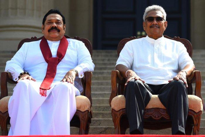 Sri Lanka's new President Gotabaya Rajapaksa (R) and his Prime Minister brother Mahinda Rajapaksa. (AFP file photo)