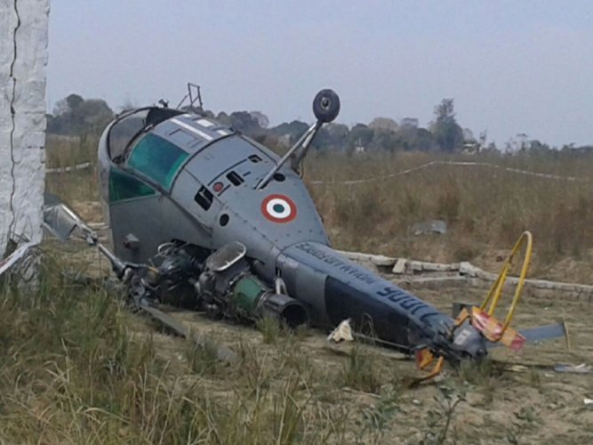 An Indian Air Force (IAF) helicopter with four people onboard, including two crew members, on Wednesday crash-landed at a helipad in Udhampur district of Jammu and Kashmir, a defence spokesman said.  ANI file photo for representation only