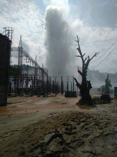 Mishap site in Kopili hydro power project in Assam. DH photo