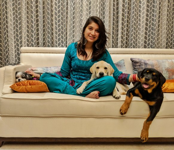 Harleen Singh with her pets.