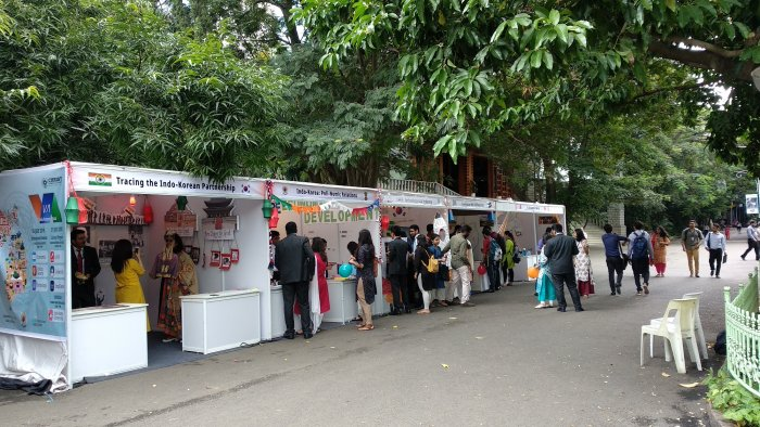 Exhibition stalls at Christ College, venue of the VA Indo-Korean Utsava.
