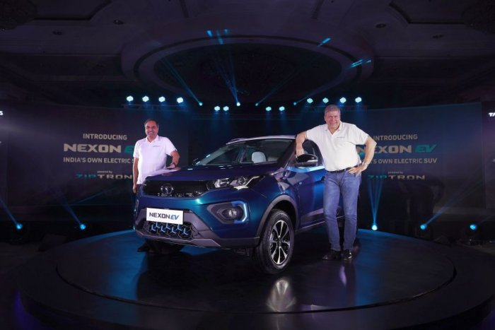 Guenter Butschek (left), CEO & Managing Director, Tata Motors, and Shailesh Chandra, President – Electric Mobility Business & Corporate Strategy, Tata Motors, during the unveiling of the Nexon EV