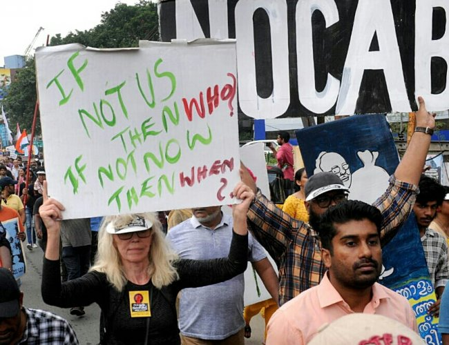 Norwegian national Janne-Mette Johansson at the long march against CAA in Kochi on December 23