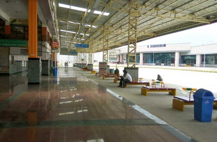 New platform of KSRTC bus station at Majestic. (DH Photo)