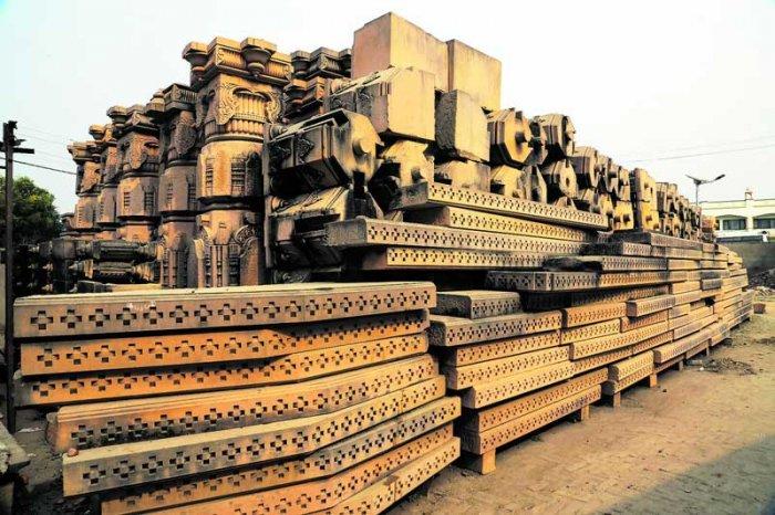 Carved stones are seen at the Ram Janmabhomi Nyas-run workshop at Karsevakpuram in Ayodhya. (PTI File Photo)