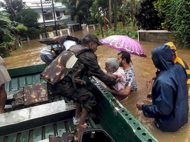 Heavy rains and flooding have claimed 231 lives since August 8 in the second spell of the monsoon. More than 10.40 lakh people are still in relief camps across the state. PTI photo