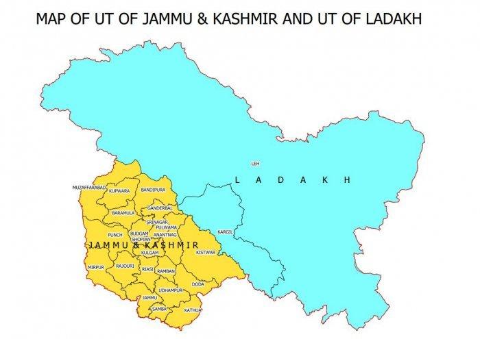 Map of Union Territories of Ladakh and Jammu and Kashmir Ladakh Jammu and Kashmir Ladakh Jammu and Kashmir Ladakh