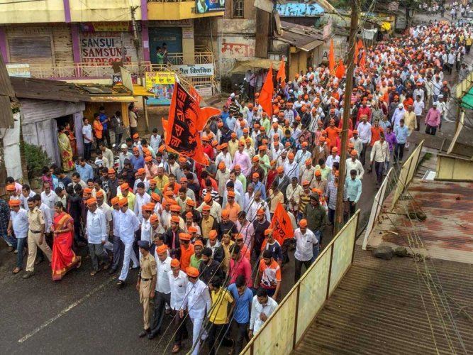 Maratha Kranti Morcha protesters take part in a rally during their Maharashtra bandh, called to press for reservations in jobs and education, at Patan in Satara on Thursday. PTI photo
