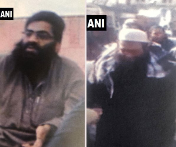 Key Jaish e Mohammed operatives targeted in today's air strikes: Maulana Ammar(in pic 1, associated with Afghanistan and Kashmir ops) and Maulana Talha Saif(pic 2), brother of Maulana Masood Azhar and head of preparation wing. ANI photo