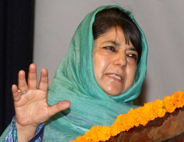 "PDP) president and former chief minister Mehbooba Mufti tweeted a video showing voters raising anti-BJP slogans after they were allegedly ""roughed up"" by BSF personnel for not voting for the saffron party."